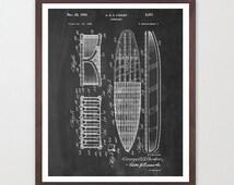 Surf Poster - Surfboard Patent - Surf Art - Vintage Surfing Art - Surfboard - Surfing Poster - Ocean Art - Beach Art