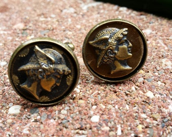 Cuff Links - Mecury Head Antique Button