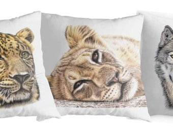 Pillow 40 x 40 cm - Wolf, Lion, Leopard - with filling
