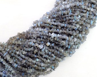 "Elegant Beautiful Natural Blue Flash Fire Labradorite Chips Uncut Beads 32""Strands"