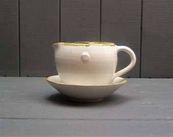 Sauce or gravy boat with saucer- hand thrown pottery