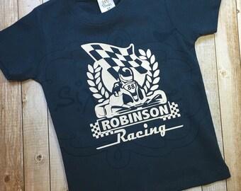 Custom Go Kart Racing shirt OR bodysuit | Boys Racing Shirt | Girls Racing Shirt | Go-Cart Shirt | Custom Racing Shirt | By Sixpence