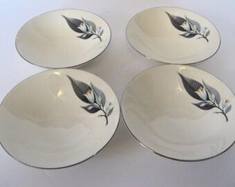 Homer Laughlin Rhythm Series Lotus Hai pattern 4 berry bowls dessert dishes. Vintage Mid Century china.