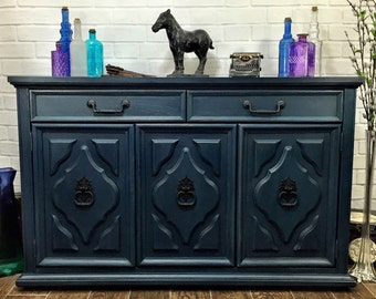 SOLD- Vintage Hand Painted Midnight Blue Buffet Server