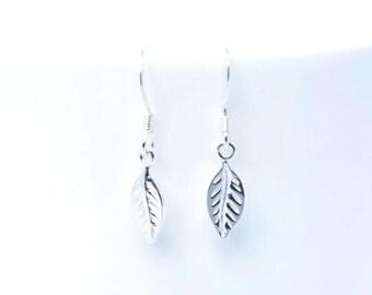 Leaf earrings - Sterling Silver leaf earrings - Bridesmaids gift - Simple leaf earrings - Leaf drop earrings - Everyday earrings