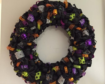 Handmade Spider Halloween Ribbon Wreath