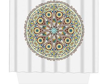 Shower Curtain, Home Decor, Bathroom Decor, Natural Circle Petite