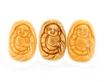 Carved Bone Buddha Top to Bottom Drilled Bead -- (RK60B16-02)