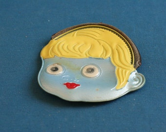 vintage small Wallet for Small change (money) in the form of Face of a girl made from plastic 60's 70's