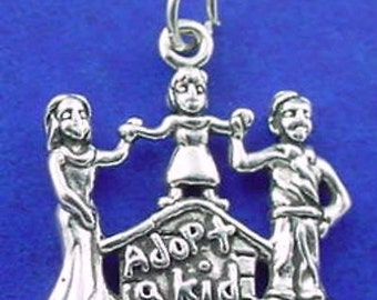 ADOPTION Charm .925 Sterling Silver Adopt A Kid Pendant - lp4087