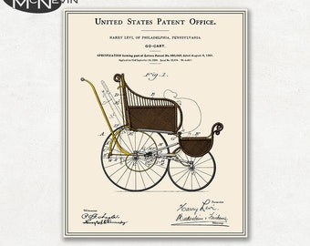 STROLLER PATENT, Vintage Fine Art Print Poster, Colour, Blueprint, or Black and White