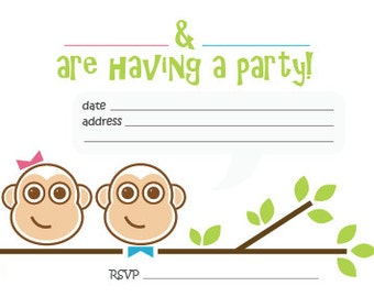 Cheeky Monkeys - Printable Childrens Invites