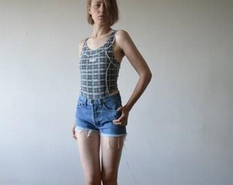 vintage ADIDAS leotard one piece thong aerobics bodysuite in green grey adidas pattern