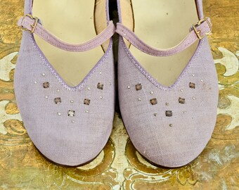 1950s Rhinestone Studded Lavender Mary Jane Flats