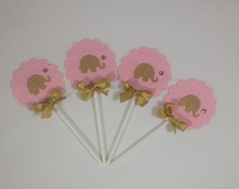 Elephant Gold and Pink cupcake topper/ elephant theme, Gold and pink 2 dz