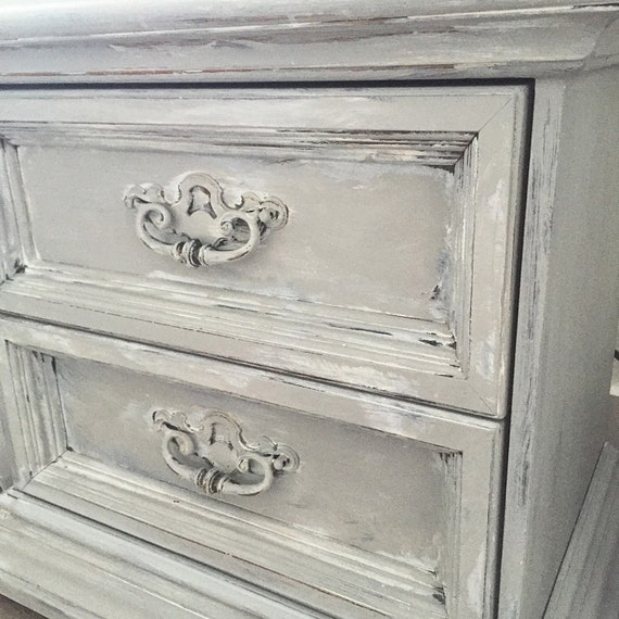 Items similar to CHALK PAINT Gray End Table Two Draw Bed