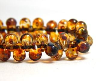 50 Small Drop Beads, Czech Drop Beads, Raindrop Beads, Small Beads, Teardrop Beads, Small Teardrop Beads, Brown Drop Beads, T-100A