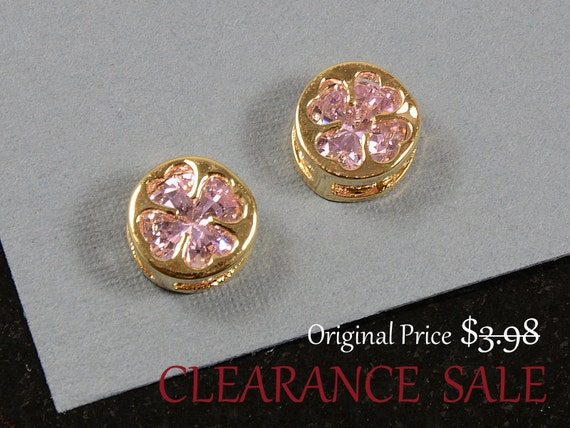 SALE - Pink Rhinestone Clover Charm/ Gold Clover Pendant with Pink Rose Rhinestone in Gold Plating - 2 pcs/ order