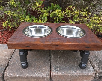 Medium Dog Reclaimed Wood & Iron 2 Bowl Pet Feeder