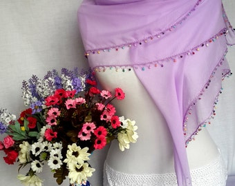 Lavender Turkish Oya Scarf, Yemeni Scarf, Crochet Colored Beads, Turkish Shawl, Gift For Her, Cotton Square Scarf, Spring Scarf