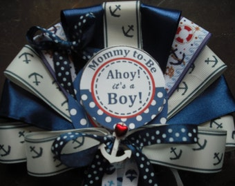 Baby shower Mommy To Be and 2 Grandma smaller corsages Nautical Ocean Sailor pin on corsage