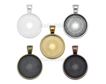 20mm Round Pendant Tray Pendant Blank Base Cabochon Tray Circle Cameo Cabochons Base Settings fit 20mm Round Cabochons 50 PCS M015