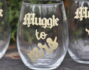 From muggle to mrs harry potter bridesmaid gift i solemnly swear bachelorette party hogwarts wedding glass bridal shower deathly hallows