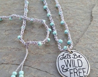 Long Beaded Crochet Necklace
