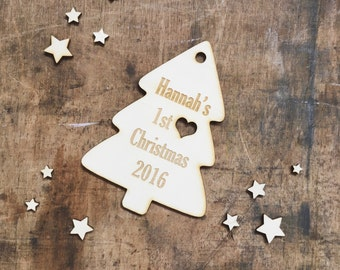 1st Christmas Tree Personalised Wooden Christmas Bauble Decoration