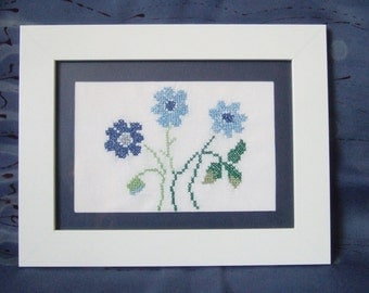 Hand embroidered picture - forget me nots