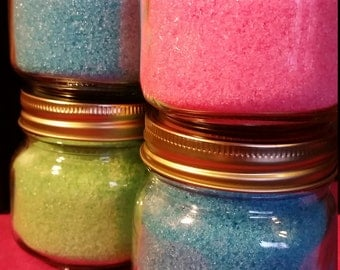 Set of 4, glass jars, bath salts, fragrance, essential oils,