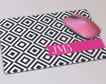 Fabric Mousepad, Mousemat, 5mm Black Rubber Base, 19 x 23 cm - Black, White and Pink Geometric Patterned Monogrammed Mousepad Mousemat