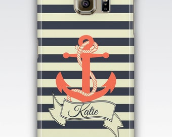 Samsung S6 Case, S6 Edge Case, S7 Case, S7 Edge Case, S5 Case, S4 Case, Samsung Galaxy S3 Case, Nautical Striped Anchor Personalised Case