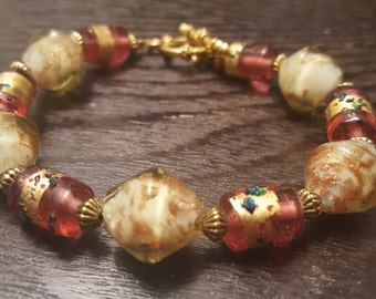 Pink, White, & Gold Glass Beaded Bracelet w/ Toggle Clasp
