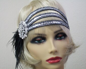 Silver flapper headband, 1920s headpiece, Gatsby headpiece, 1920s headband, Roaring 20s party, Hollywood Star, New Years Eve, Flapper style