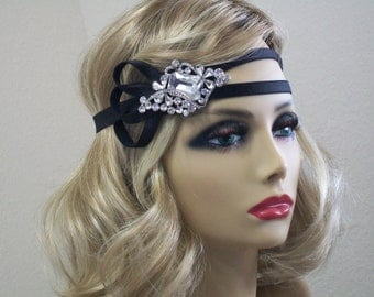 1920s headband, Double band headpiece, Flapper headband, 1920s headpiece, Great Gatsby headband, 1920s hair accessory, Vintage inspired