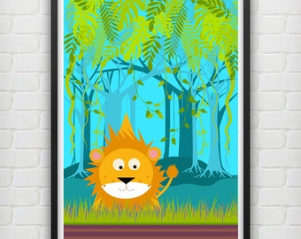 Illustrated Lion in the Jungle Poster size A3 and size A4 (unframed)