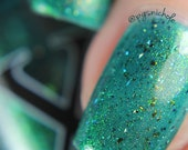 Quixotica - Shifty Ultrachrome Flakie Polish - Teal Jelly Polish, Unicorn Pee Pigment Shifts Gold to Blue, Green Polish