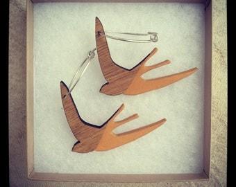 Wooden Swallow Earrings