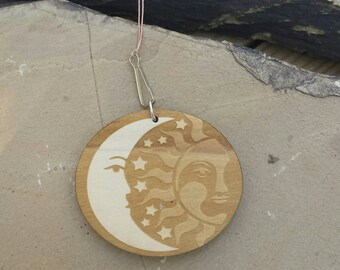 Car Essential Oil Diffuser-Wood Sun and Moon