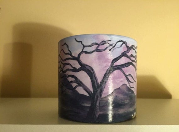 Hand-painted glass candle bowl