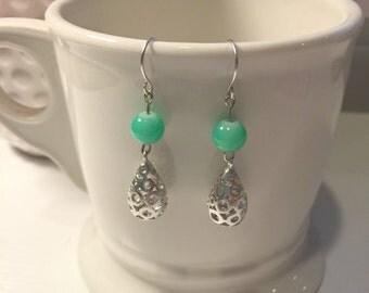 Mint Green Dangle Earrings; Mint Green Drop Earrings; Drop Earrings; Dangle Earrings; The Tiffany Earrings