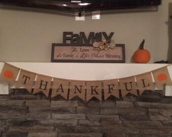 Thankful Banner, Thankful Banner, Thankful Sign, Thanksgiving Burlap Banner, Thanksgiving Banner