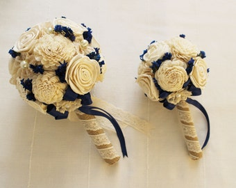 Bridal Bouquet and Bridesmaid bouquet , Wedding Cream/blue,  Sola flowers