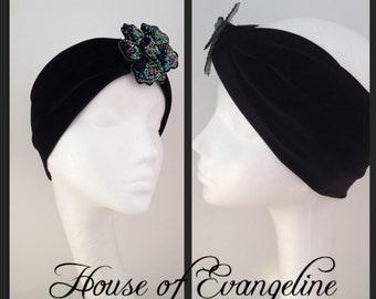 Black Velvet and Sequin Flower Turban/Eveningwear/Headwear.Ref:055