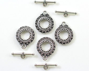"""2 Sets~ TIERRACAST~""""Bali Toggle Clasp Sets"""", Antiqued Silver Plated Lead Free Pewter& Antiqued Pewter~6112"""