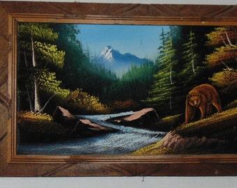 Velvet Acrylic Painting of  Bear in Forest, Framed Wildlife Art