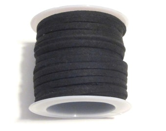 5 Meter/Roll Black Faux Suede Cord  3x1.5mm