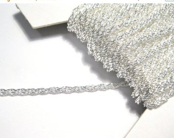 20% OFF SALE- 10ft Bright Silver Plated Braiding Link Chain 2 x 0.45mm (No. 705)