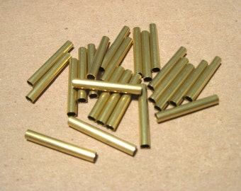 50pcs Raw Brass Tube Spacers Beads Metal Findings 20x3mm